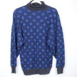 Vintage Snowflake Blue & Black Turtleneck Sweater